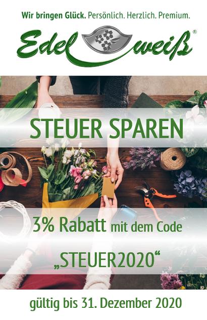 """Steuer-Rabatt - sparen Sie 3 % mit dem Gutscheincode """"Steuer2020"""""""