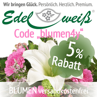 """5% Rabatt mit dem Gutscheincode """"blumen4j"""" auf jede Bestellung"""