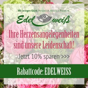 """10% Rabatt mit dem Gutscheincode """"EDELWEISS"""" auf jede Bestellung"""